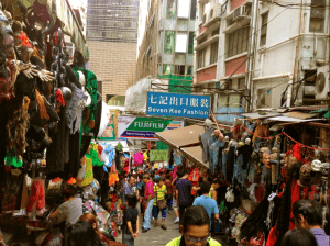 Pottinger Street a few days before Halloween - this is normal for Hong Kong!
