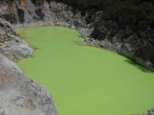 Devil's bath - One of the many craters filled with crazily coloured water. This one has been changed due to the water mixing with sulphur and ferrous salts. Don't know about you but I definitely wouldn't fancy a bath in this one!