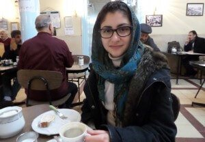 Me posing as an intellectual in Cafe Naderi
