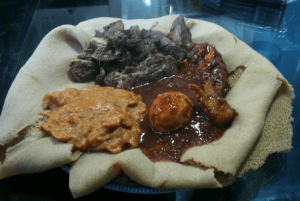 Enjera with sauces