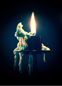 One of the gorgeous melting candles on our christmas lantern