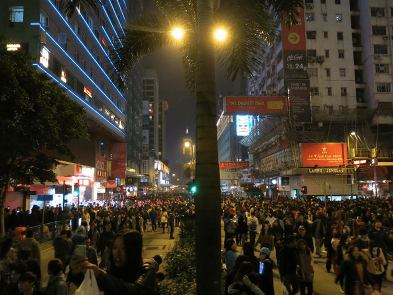 Very crowded streets after the fireworks