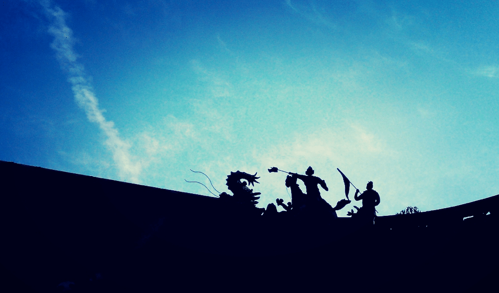 Sculptures on the rooftop