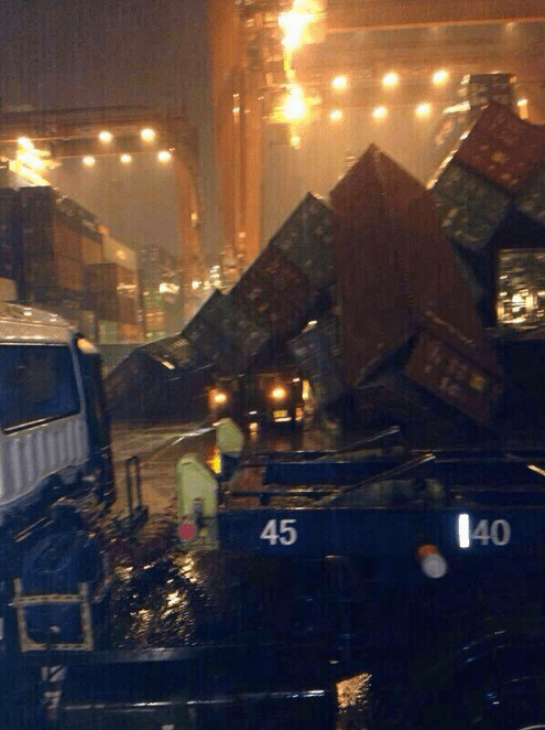 Collapsed Container Ports crushing a car