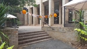 Picture of decorations for the Halloween Celebration outside the dining hall