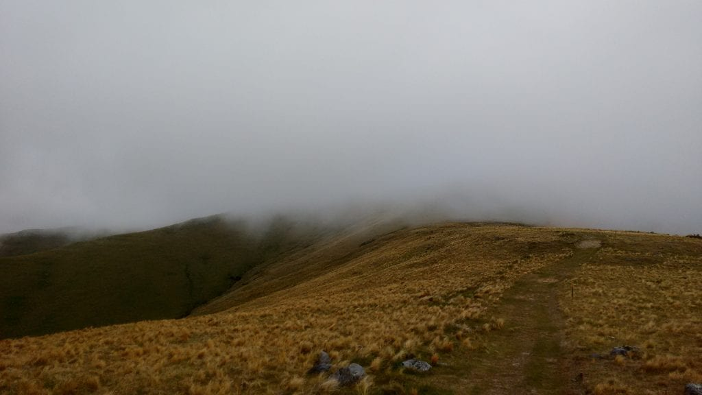 Close to the summit, one of the many patches of cloud that kept blowing over and obscuring the views