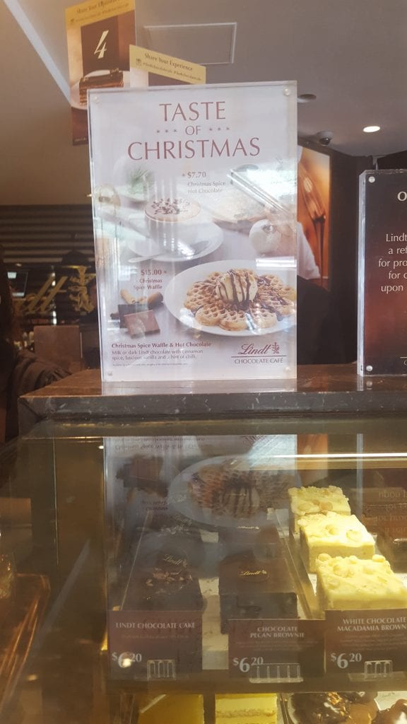 The Christmas offers at the Lindt Chocolate Café