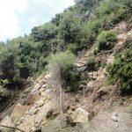 A landslide blocking most of the track