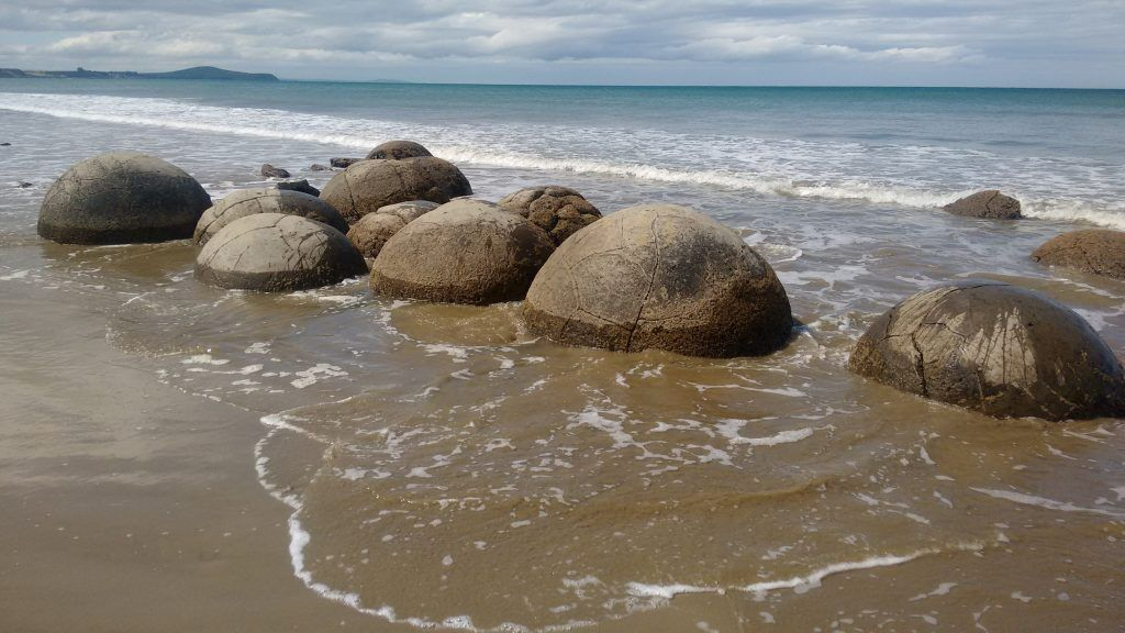 The beach is covered with these unusual boulders
