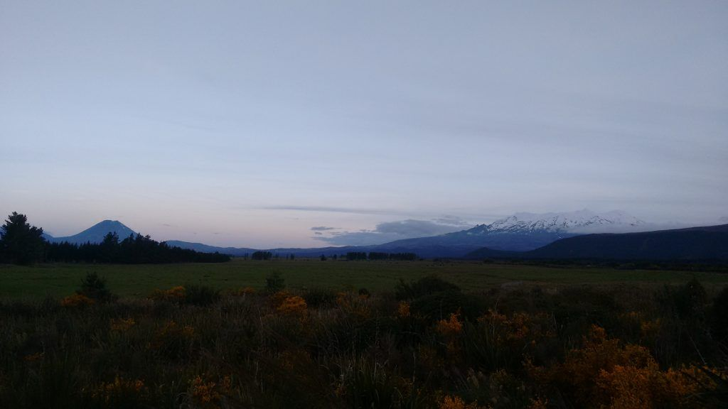 Mount Tonagriro (far left), Mount Ngauruhoe (left) and Mount Ruapehu (right). Ngauruhoe and Ruapehu were both used for filming Mount Doom