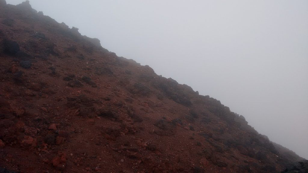 The slope of Mount Ngauruhoe. Although it looks like it, this image hasn't been tilted - It genuinely is this steep!