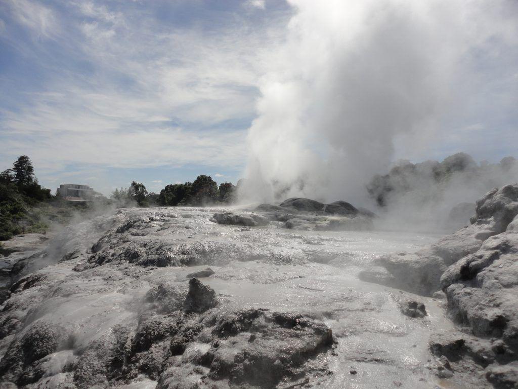 Pohutu Geyser, which erupts a few times an hour