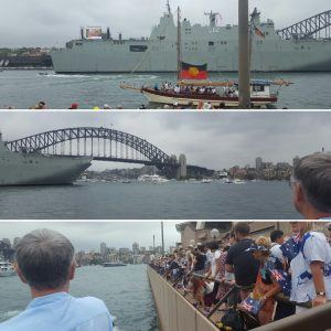Pictures taken from in front of the Sydney Opera House of the Harbour Bridge, the people and the boats