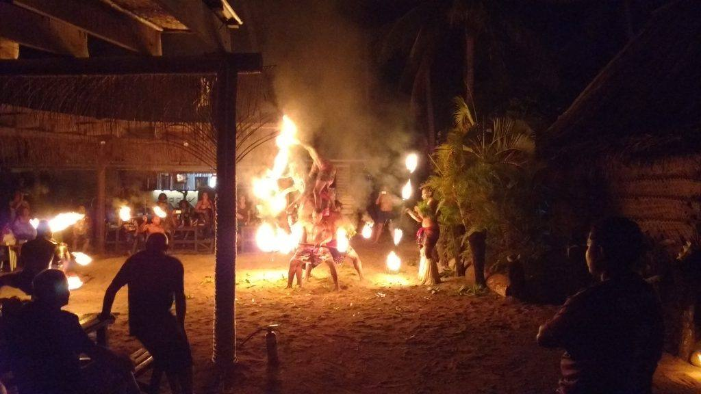 Traditional fire dancers .....