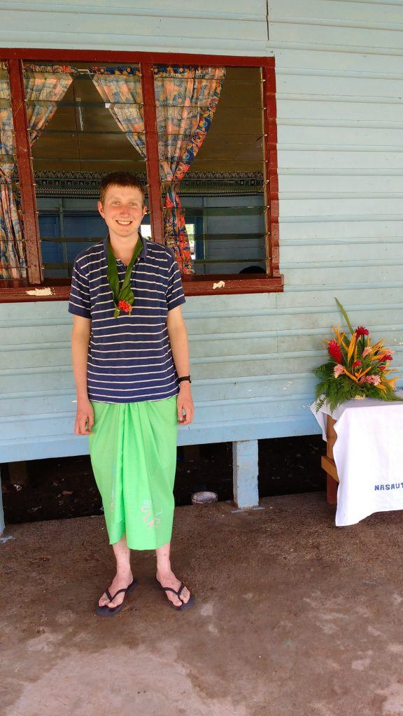Wearing a traditional sarong to visit a village