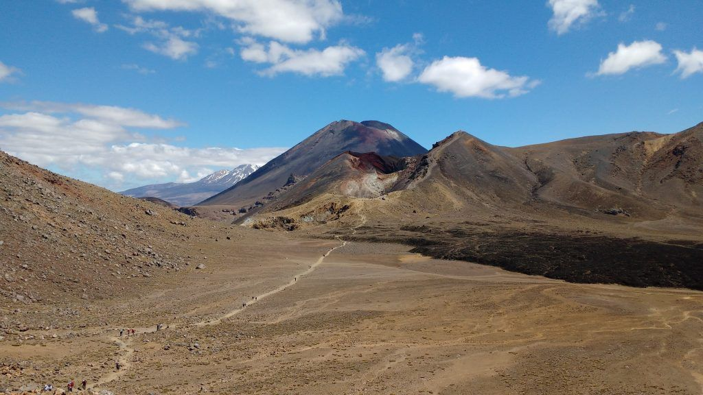 Red Crater and Mount Ngauruhoe (a.k.a. Mount Doom) with Mount Ruapehu in the background