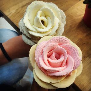 A picture of the gelato flowers served at iCreamy Artisan Gelato